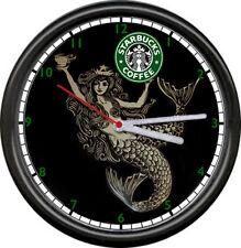 Starbucks Coffee Latte Espresso Shop Stand Old Mermaid Logo Sign Wall Clock