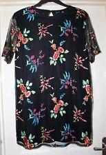 Boohoo Black Floral Net Boho Dress, Size 16 - Lovely!