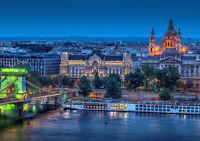 BUDAPEST EVENING NEW A3 CANVAS GICLEE ART PRINT POSTER