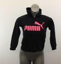Puma Hoodie Girls Medium Black w/Pink Cat Logo Long Sleeve Hooded Sweatshirt