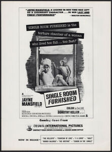 SINGLE ROOM FURNISHED__Original 1968 Trade print AD / ADVERT__Jayne Mansfield