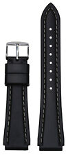 18mm Hadley Roma MS3445 Black Rubber Sport Watch Band with White Stitching