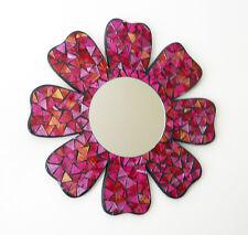 "Hand Made in Bali Flower Daisy Mosaic Glass Mirror Wall Art Plaque GIFT 15"" Diam"