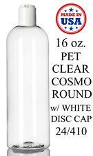 16 oz. Cosmo Round PET Plastic Bottles Empty With White Disc Cap Bulk Lot