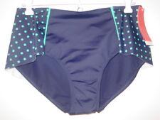 Spanx blue green polka dot skirted back shaping bikini bottoms swimsuit-10-NEW