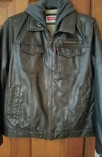 NEW LEVI'S Faux Leather Sherpa Lined Bomber Hood Jacket Dark Brown Vegan  Mens L