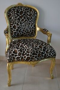 LOUIS XV ARM CHAIR FRENCH STYLE CHAIR VINTAGE FURNITURE GIRAFFE gold wood
