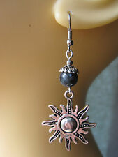 Silver Tone Sun Earrings Norwegian Moonstone Beads Larvikite Pagan Solstice