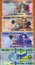 SET Sierra Leone, 1000;2000;5000;10000 Leones, 2010, Picks 30;31;32;33 UNC