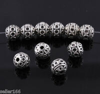50 pcs 8mm Tibetan silver spacer Loose Beads Bracelets Charms Findings