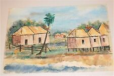 Shacks & Landscape,The South or Mexico-Watercolor Painting-1960s-Jan Gary