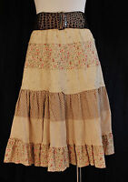 VTG BoHo HIPPIE Chic sz L Tiered Lined Versatile  Western Casual or Dressy Skirt
