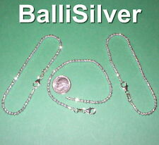 Cut Bead Anklets Lot - Your size 3 pieces Real 925 Sterling Silver 3mm Laser