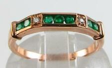 9CT 9K ROSE GOLD EMERALD DIAMOND HALF ETERNITY ART DECO INS RING