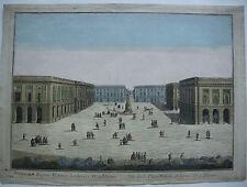 Vue d'optique Guckkastenbild Place Royale Rheims France Kupferstich 1750