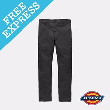 Dickies Men's 803 Slim SKINNY Work Pant Cotton Spandex Mens Trousers Brown 32 Black WP803BLK