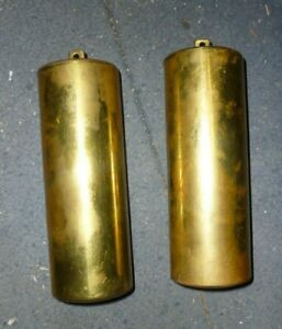 Pair Of Good Used Brass Cased Longcase Weights 12lb 11oz And 12lb 14oz