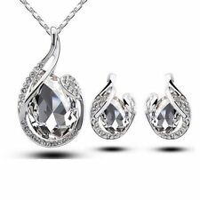 Teardrop Crystal Earring Pendant Chain Necklace Jewelry Set White Gold Plated