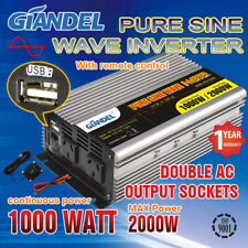 Pure Sine Wave Power Inverter 1000W/2000W12V-240V+Remote Controller