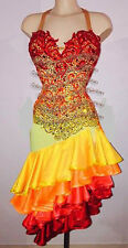 L1058 Ballroom Latin Rhythm Salsa Rumba Samba Dance dress US 8 Multi-Color