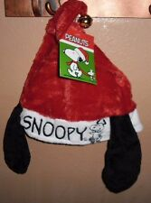 """PEANUTS CHARLIE BROWN """"SNOOPY"""" CHRISTMAS SANTA HAT WITH EARS AND JINGLE BELL NEW"""