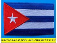 """CUBA FLAG PATCH IRON-ON SEW-ON EMBROIDERED APPLIQUE (3½ x 2¼"""") - HI QUALITY!"""