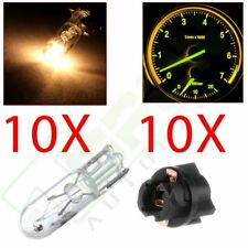 10x T5 White Halogen Bulb + Twist Lock Instrument Dash Cluster Indicator Light