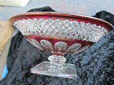 CRANBERRY RED FLASH 10 1/2 BOWL ON PEDESTAL ELEGANT SIMPLY BEAUTIFUL Ex, Cond.