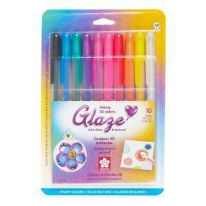 38370 Sakura Gelly Roll Glaze Gel Pen, Glossy Bright Colors, Pack of 10 Pens