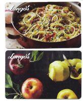 2 collectible LONGO'S Longos gift card Canada Ontario Toronto apple pasta cards