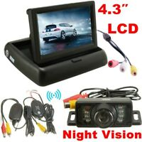 "4.3"" Foldable TFT LCD Monitor Wireless Car Rear View Backup Camera Night Vision"