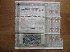 1935 Bond Bon de 500 Francs ANCIENS ETABLISSEMENTS BERTRAND MERCIER & Cie