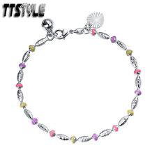 TTstyle 18K White Gold Filled Multi Colour Bracelet Jingle Bell NEW