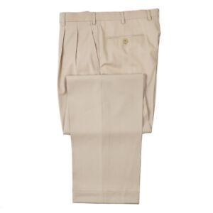 NWT $900 BRIONI 'Cannes' Beige Extrafine Wool Dress Pants 31 W (Eu 46)