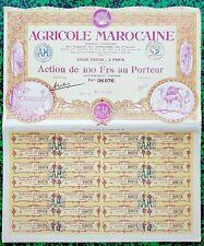 Maroc - Siège à Paris - Exceptionnel Décor Secteur Agricole du 25/04/1928 A Voir