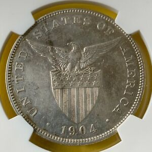 US PHILIPPINES ONE PESO 1904-P NGC AU DETAILS