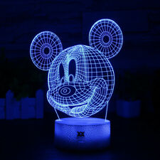 Mickey Mouse 3D Lamp Acrylic USB Cracked Lacquer Base Home LED Night Light Gifts