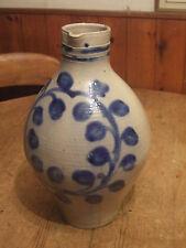 LARGE ANTIQUE (1711)  GERMAN COBALT BLUE SALT GLAZED STONEWARE FLAGON SIGNED JM