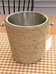 Sigrid Olsen Ice Bucket Wine Cooler Stainless Steel Rope Trim BRAND NEW WITH TAG