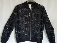 Women's NWT Chicos All Over Lace Bomber Jacket Black Size 1 Small S