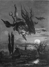 The Witch Picturesque Russia 1897 Bats Moon Flying Witchcraft 7x5 Inch Print