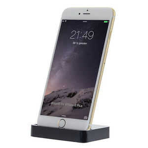 Dockingstation iPhone X 8 7 6 6S Plus 5 5C SE iPod Lade Gerät Daten Sync Schwarz