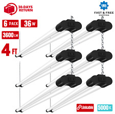 6Pack 4 Foot 36W Daylight Linkable Led Shop Light Fixture Utility Ceiling Garage
