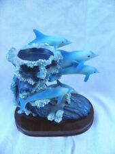 Yanglin Dolphin Candle Holder Wave Ocean Blue Resin Wood