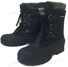 """Mens Winter Boots Waterproof Nylon 9"""" Black Insulated Hiking Thermolit Snow Shoe"""