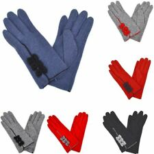 New Womens Triple Bow Design Wool Gloves Ladies Winter Gloves Free UK Delivery