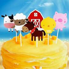 24PCS Multicolor Farm Animal Party Cupcake Toppers Picks for Kids Party Favors