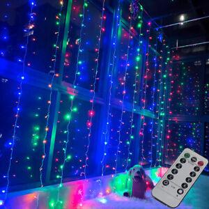 3M LED Multi Coloured Curtain Wedding String Fairy Lights Display Decor + Remote