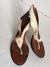 Ralph Lauren Cindra Cream Ivory Crochet Thong Heels Mismatch Left 7 Right 6