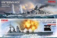 Meng Model PS-003 + PS-001 Battleships Bismarck & HMS Rodney 1/700 Kit Package